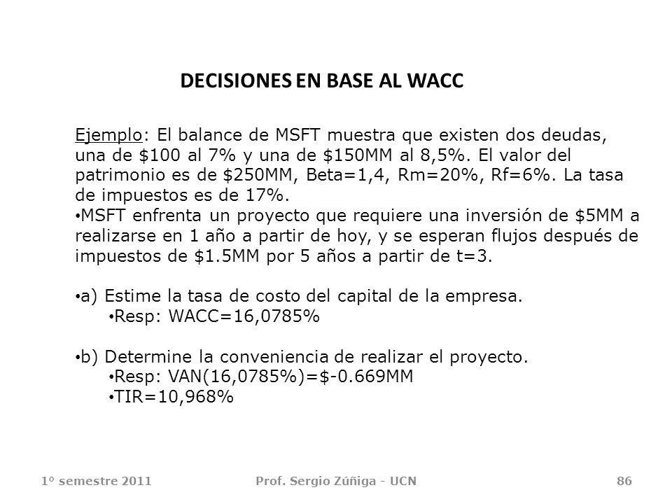 1° semestre 2011Prof. Sergio Zúñiga - UCN86 Ejemplo: El balance de MSFT muestra que existen dos deudas, una de $100 al 7% y una de $150MM al 8,5%. El