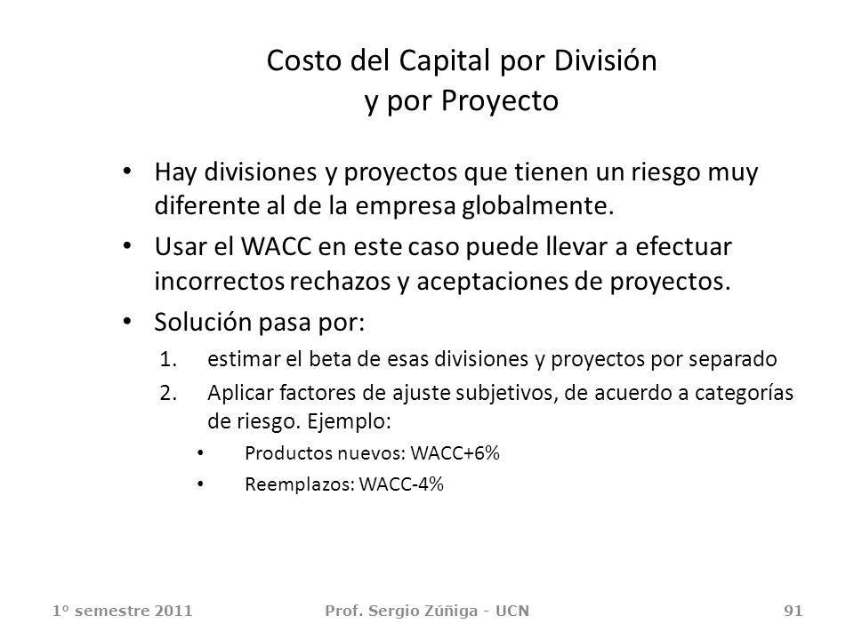 Costo del Capital por División y por Proyecto Hay divisiones y proyectos que tienen un riesgo muy diferente al de la empresa globalmente. Usar el WACC