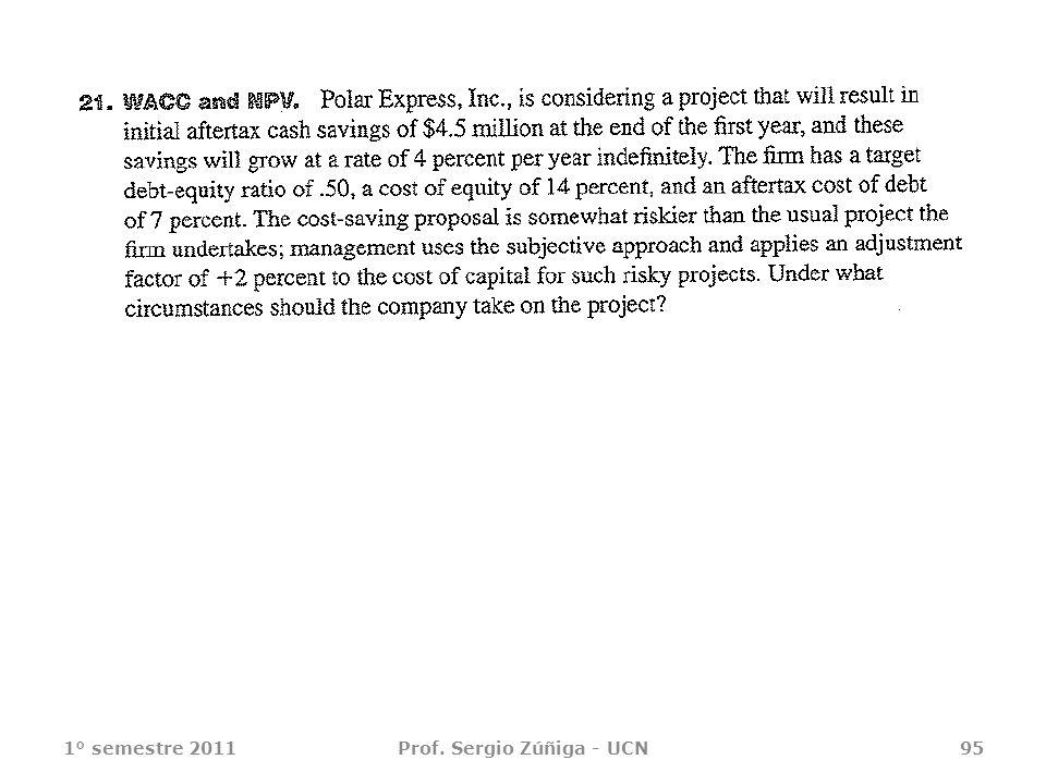 1° semestre 2011Prof. Sergio Zúñiga - UCN95