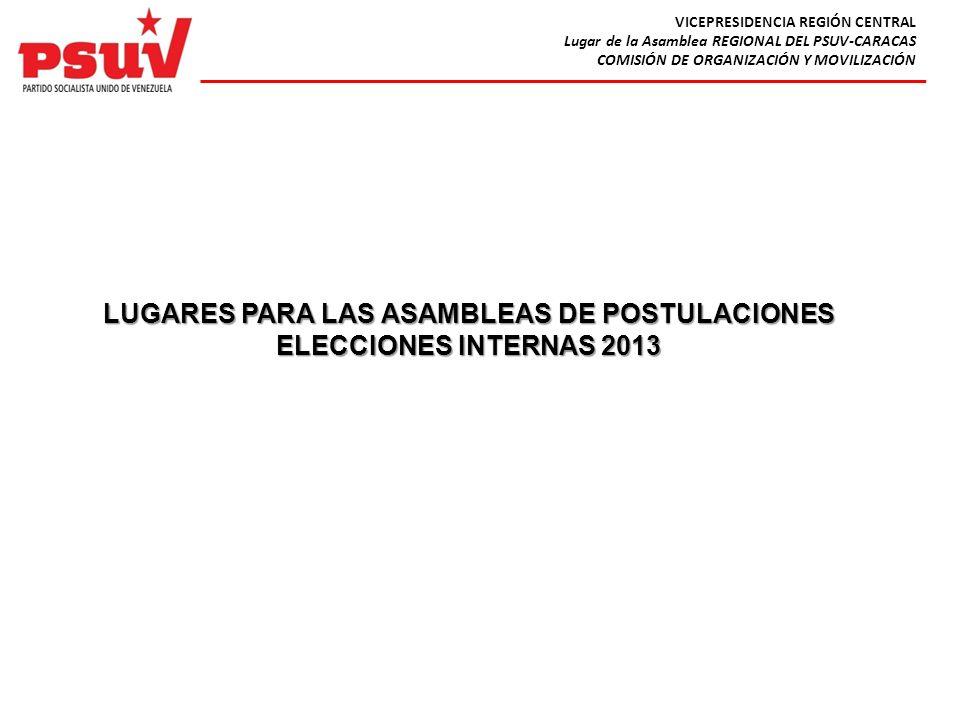 VICEPRESIDENCIA REGIÓN CENTRAL Lugar de la Asamblea REGIONAL DEL PSUV-CARACAS COMISIÓN DE ORGANIZACIÓN Y MOVILIZACIÓN LUGARES PARA LAS ASAMBLEAS DE PO