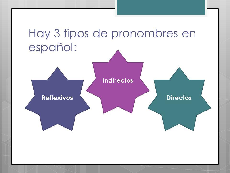 Hay 3 tipos de pronombres en español: Reflexivos Indirectos Directos
