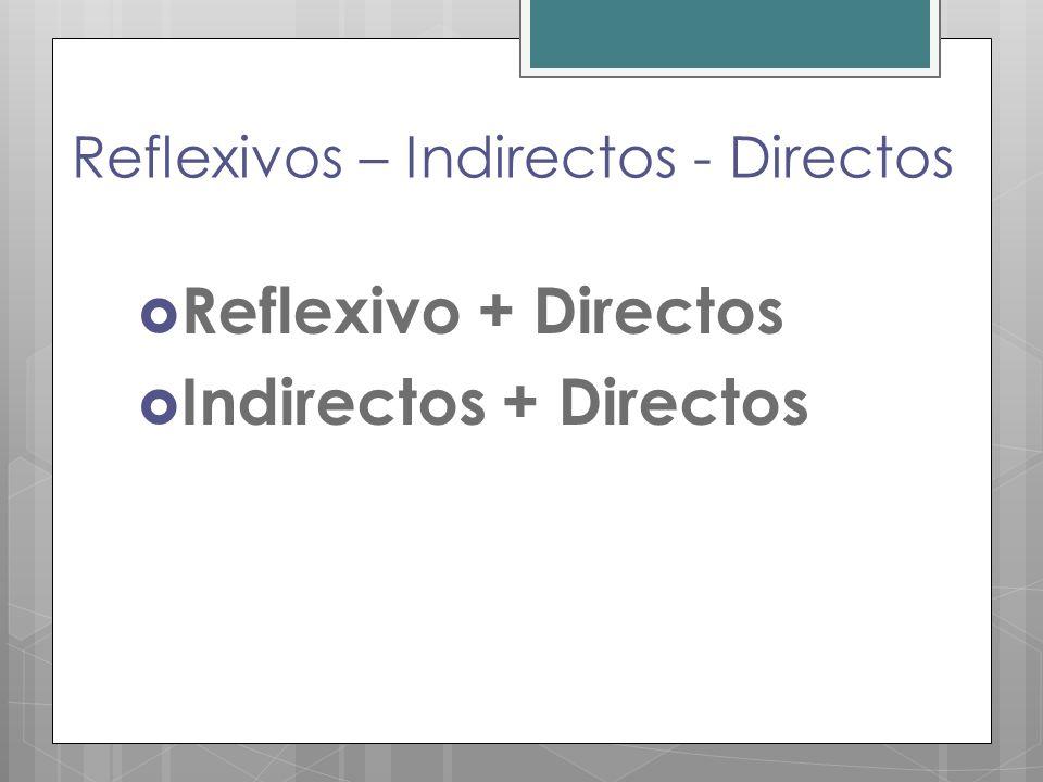 Reflexivos – Indirectos - Directos Reflexivo + Directos Indirectos + Directos
