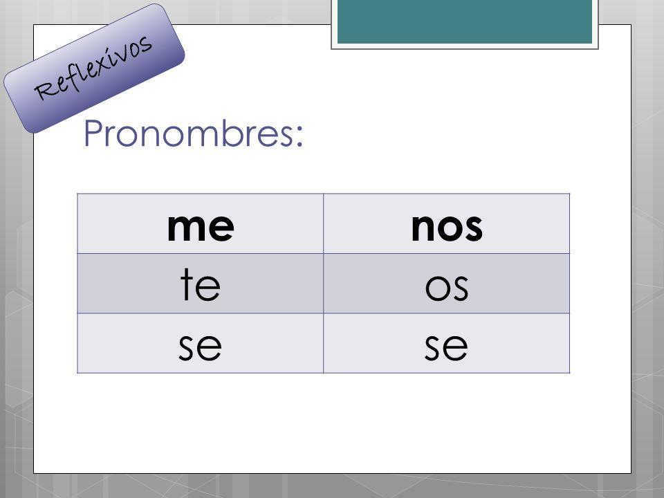 Pronombres: menos teos se Reflexivos