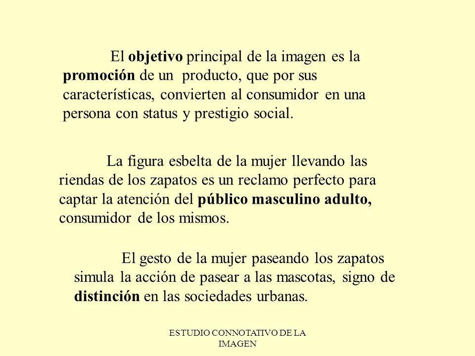 ESTUDIO CONNOTATIVO DE LA IMAGEN El objetivo principal de la imagen es la promoción de un producto, que por sus características, convierten al consumidor en una persona con status y prestigio social.