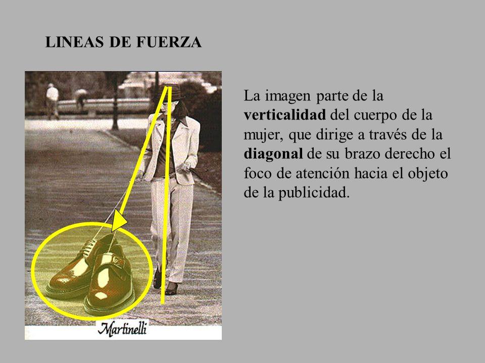 LINEAS DE FUERZA La imagen parte de la verticalidad del cuerpo de la mujer, que dirige a través de la diagonal de su brazo derecho el foco de atención hacia el objeto de la publicidad.