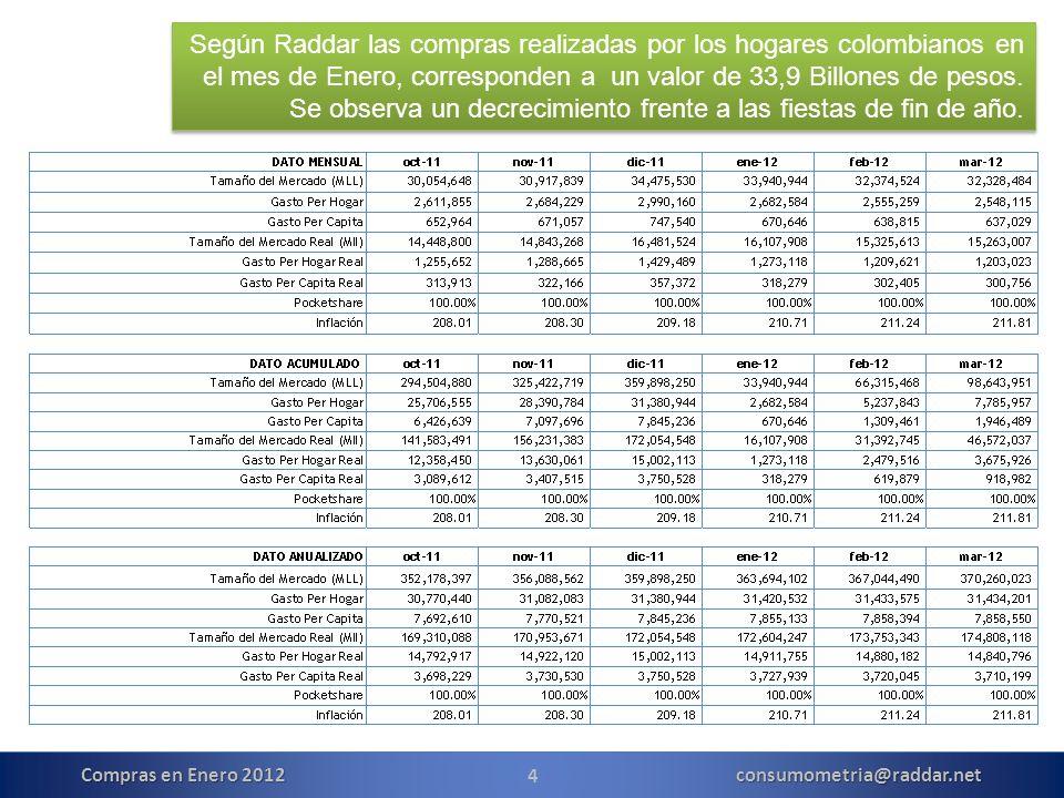 15 Compras en Enero 2012 consumometria@raddar.net