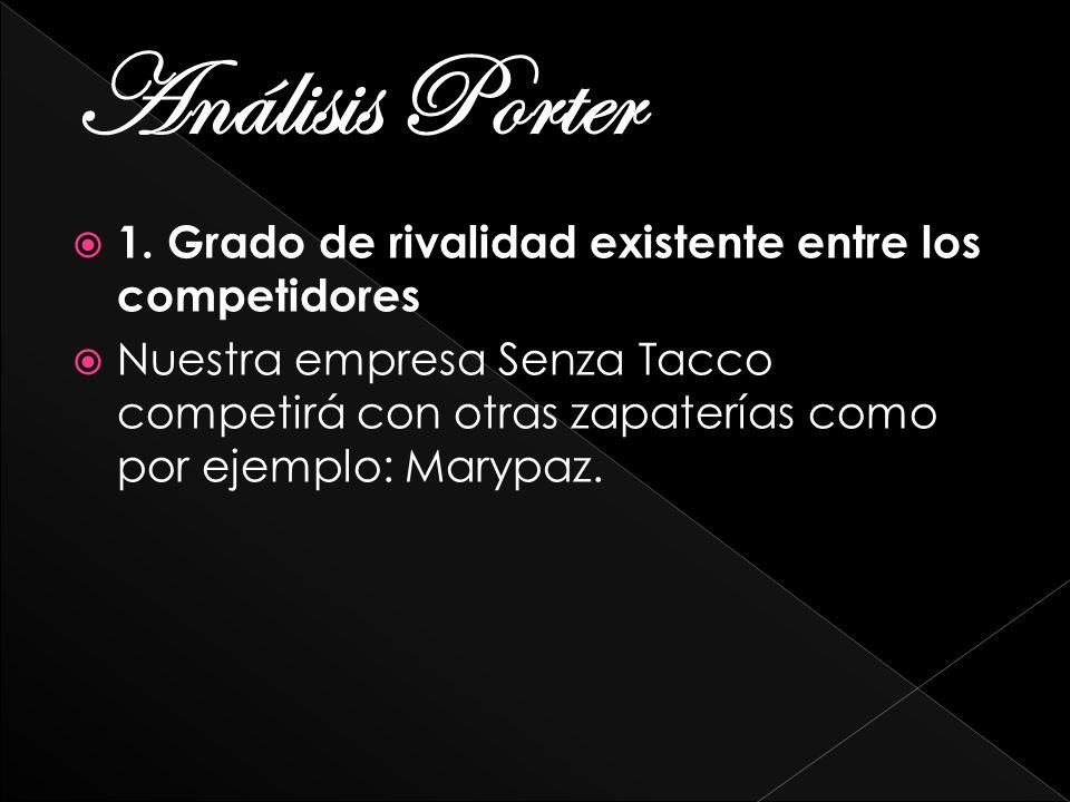 Análisis Porter 1. Grado de rivalidad existente entre los competidores Nuestra empresa Senza Tacco competirá con otras zapaterías como por ejemplo: Ma
