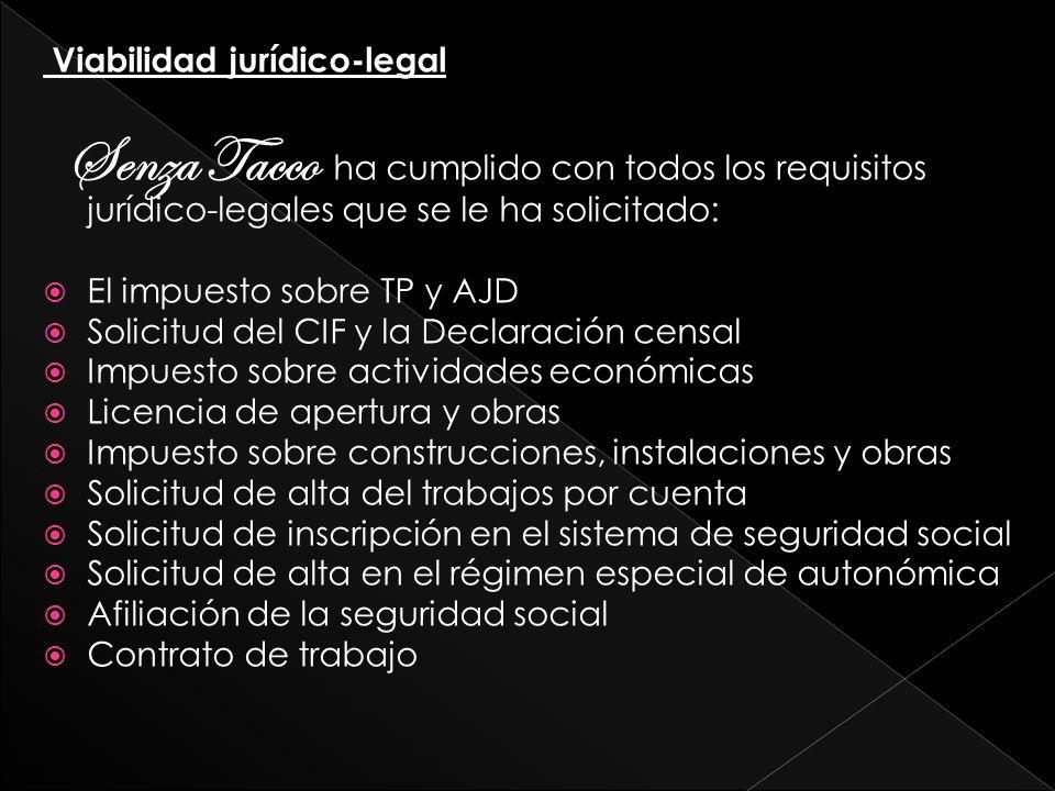 Viabilidad jurídico-legal Senza Tacco ha cumplido con todos los requisitos jurídico-legales que se le ha solicitado: El impuesto sobre TP y AJD Solici