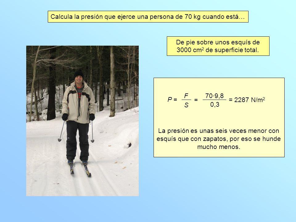 Calcula la presión que ejerce una persona de 70 kg cuando está… De pie sobre unos esquís de 3000 cm 2 de superficie total.