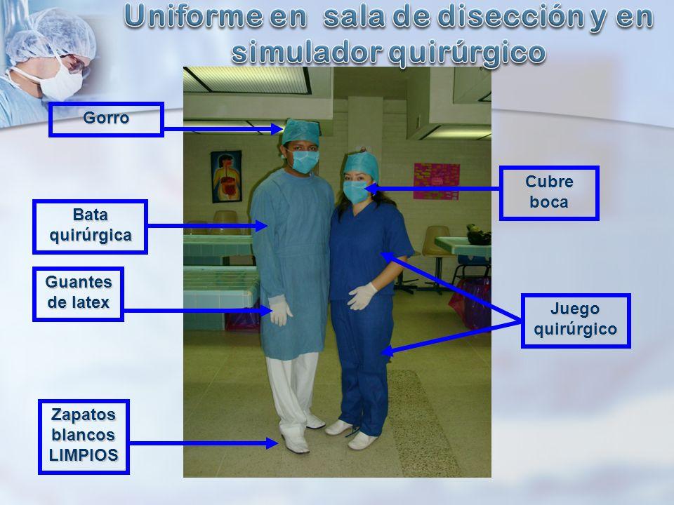 Zapatos blancos LIMPIOS Bata quirúrgica Guantes de latex Cubre boca Gorro Juego quirúrgico