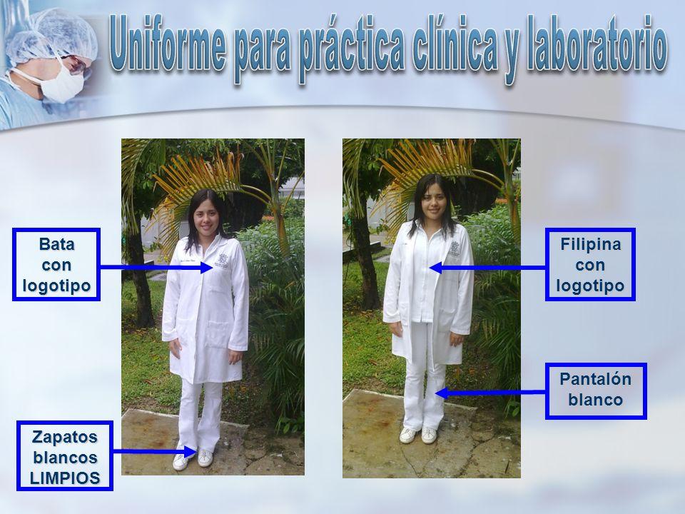 Filipina con logotipo Zapatos blancos LIMPIOS Pantalón blanco Bata con logotipo