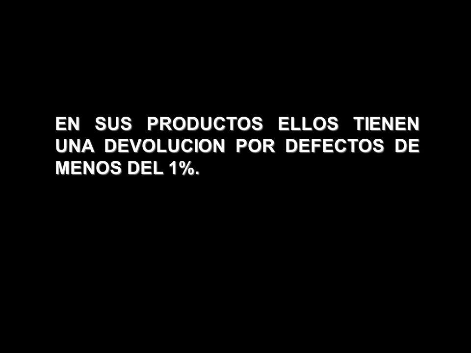 EN SUS PRODUCTOS ELLOS TIENEN UNA DEVOLUCION POR DEFECTOS DE MENOS DEL 1%.