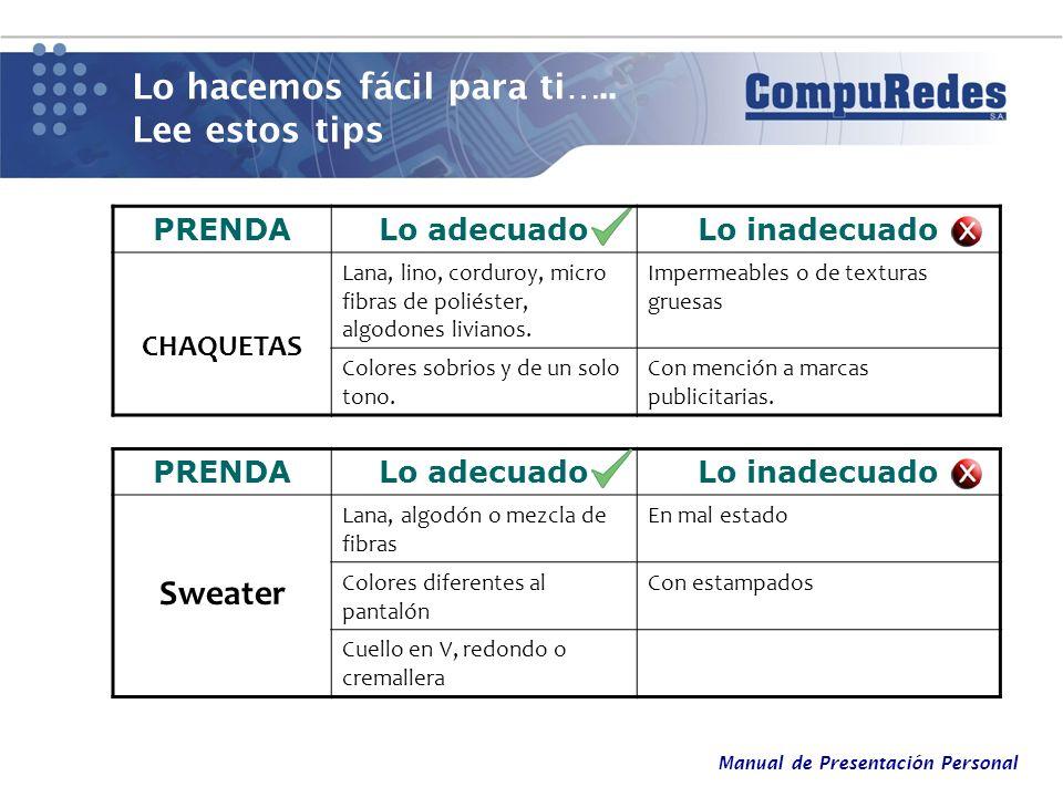 Manual de Presentación Personal Lo hacemos fácil para ti….. Lee estos tips PRENDALo adecuadoLo inadecuado CHAQUETAS Lana, lino, corduroy, micro fibras