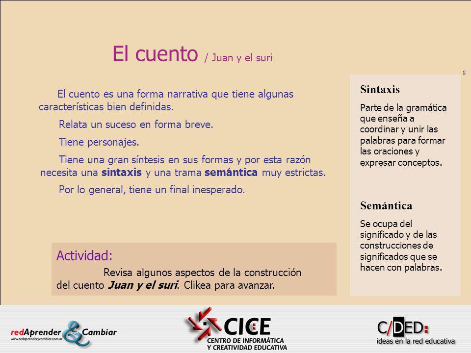 9 El cuento / Juan y el suri Al terminar esta presentación, abrirás el documento cuentoSuri.doc que está en la carpeta Lengua 1.