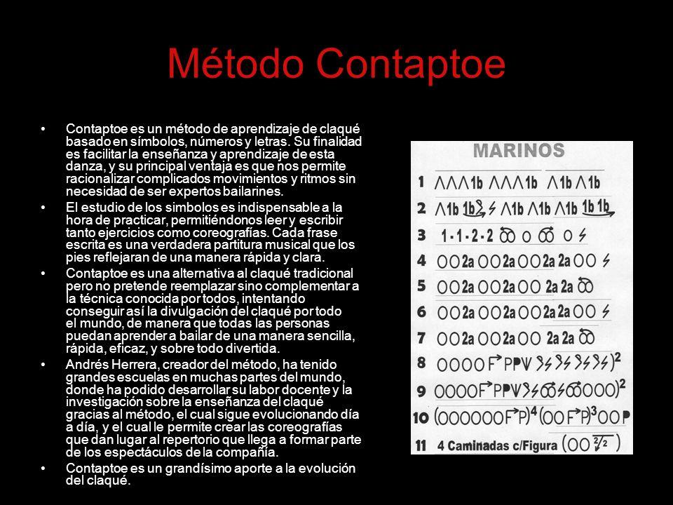 Método Contaptoe Contaptoe es un método de aprendizaje de claqué basado en símbolos, números y letras. Su finalidad es facilitar la enseñanza y aprend