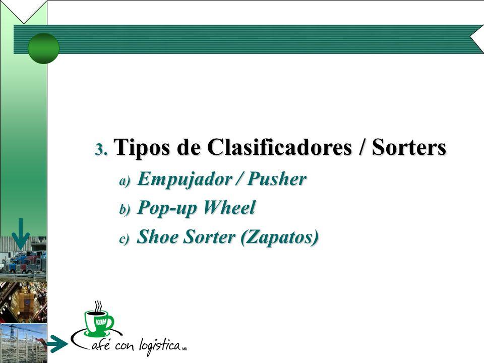 3. Tipos de Clasificadores / Sorters a) Empujador / Pusher b) Pop-up Wheel c) Shoe Sorter (Zapatos)