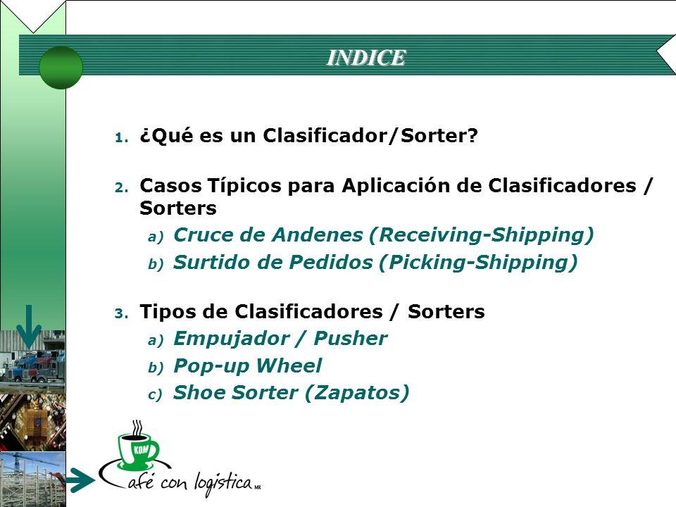 INDICE 1. ¿Qué es un Clasificador/Sorter? 2. Casos Típicos para Aplicación de Clasificadores / Sorters a) Cruce de Andenes (Receiving-Shipping) b) Sur