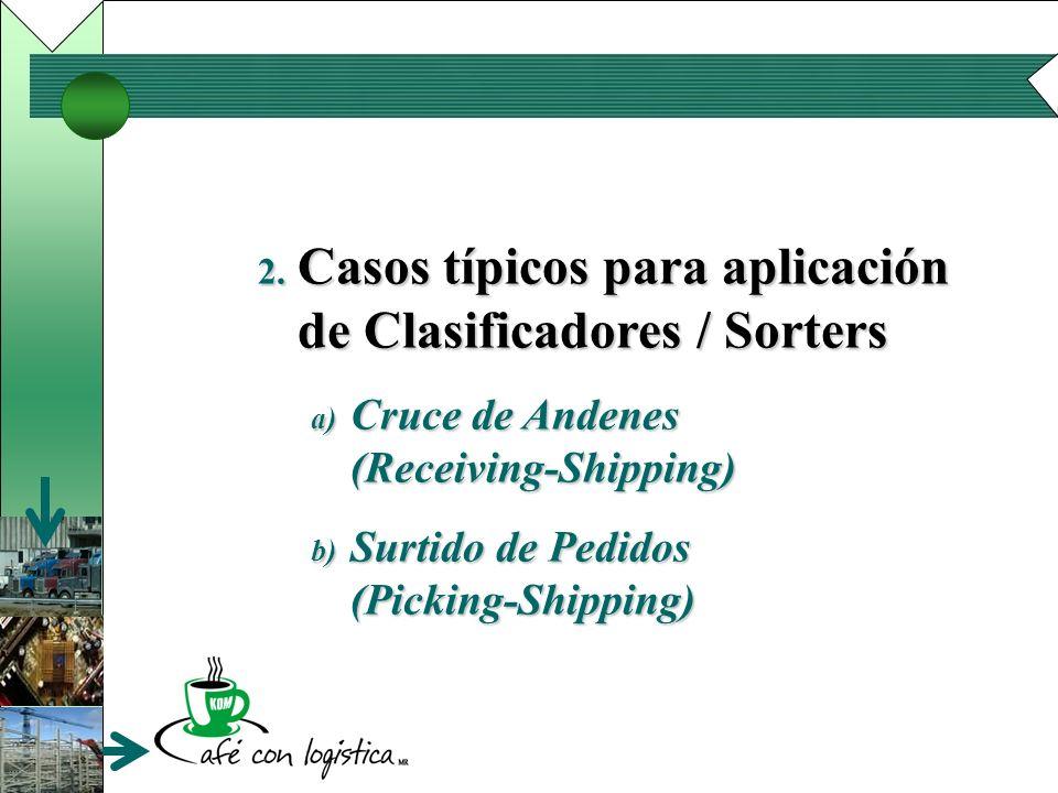 2. Casos típicos para aplicación de Clasificadores / Sorters a) Cruce de Andenes (Receiving-Shipping) b) Surtido de Pedidos (Picking-Shipping)