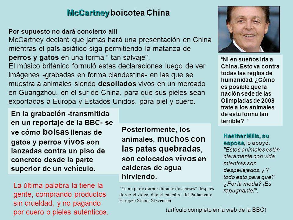 McCartney McCartney boicotea China Por supuesto no dará concierto allí McCartney declaró que jamás hará una presentación en China mientras el país asi