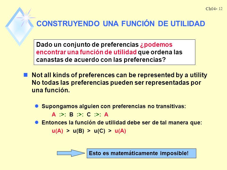 Ch04- 11 CARDINAL Existen algunas teorías que subrayan el significado de la magnitud de la utilidad. Se conocen como teorías de la utilidad cardinal.