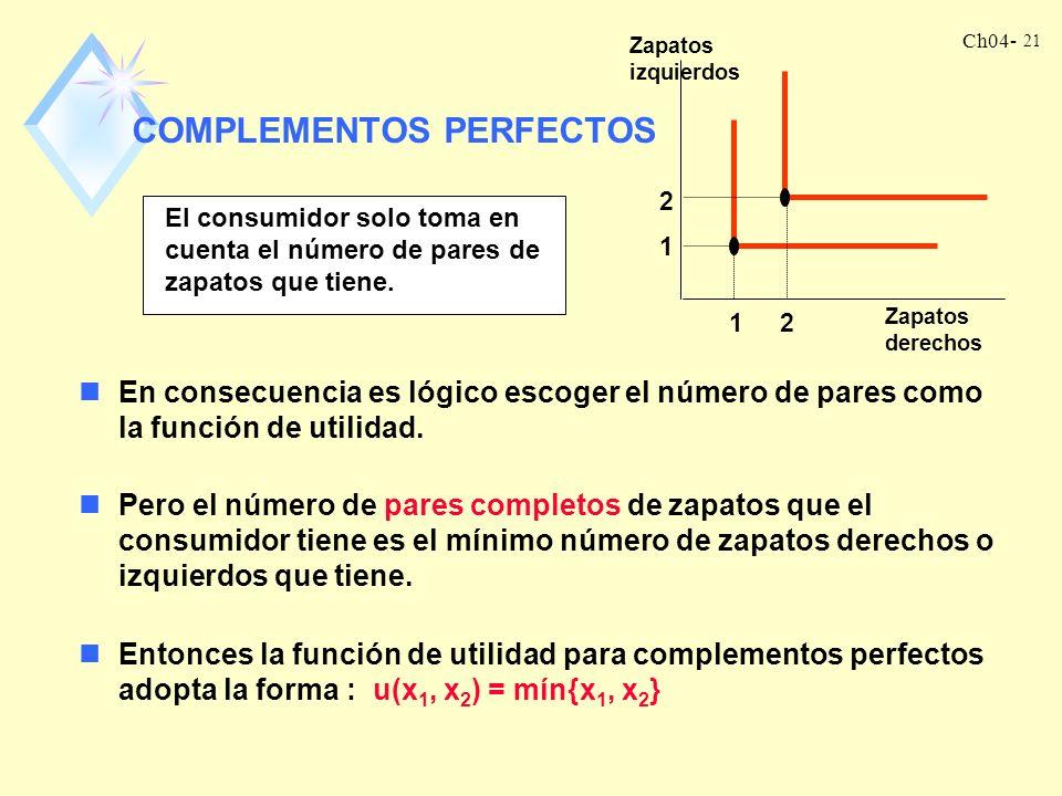 Ch04- 20 ¿qué sucede si el consumidor quiere sustituir el bien 1 por el bien 2 a una tasa diferente de 1 a 1? Digamos que el consumidor quiere dos láp
