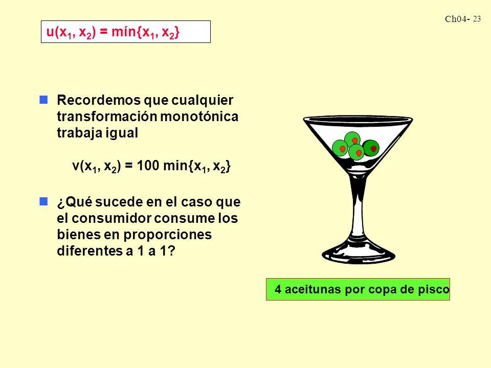 Ch04- 22 Decimos que la función de utilidad para complementos perfectos adopta la forma: u(x 1, x 2 ) = min{x 1, x 2 } nSi tenemos 10 pares: (x 1, x 2