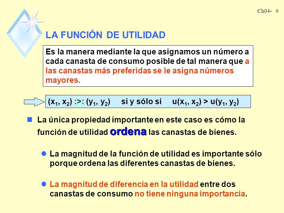Ch04- 5 nLas preferencias son lo fundamental. nLa utilidad es vista como algo ficticio que contribuye con el propósito de describir lo que es fundamen