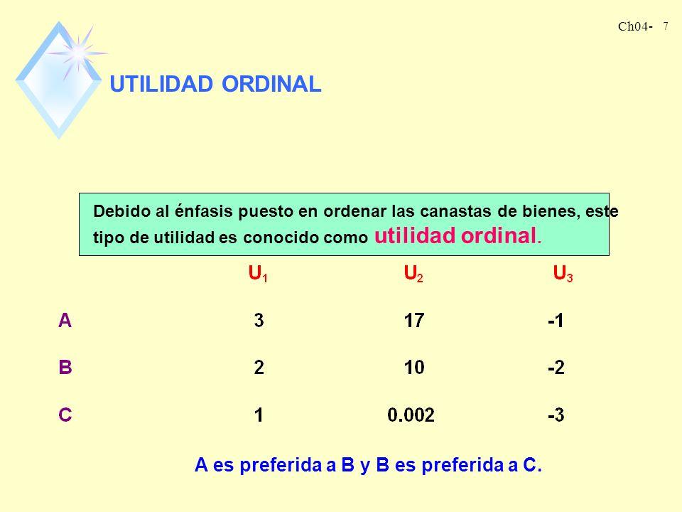 Ch04- 6 LA FUNCIÓN DE UTILIDAD Es la manera mediante la que asignamos un número a cada canasta de consumo posible de tal manera que a las canastas más