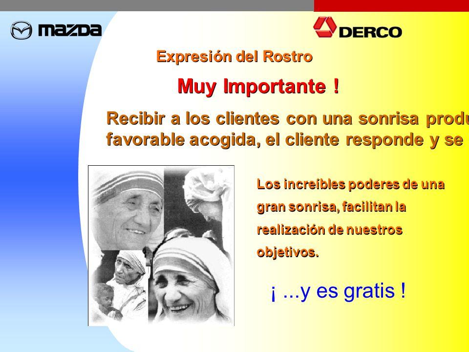 Expresión del Rostro Muy Importante ! Recibir a los clientes con una sonrisa produce una favorable acogida, el cliente responde y se acerca. Recibir a