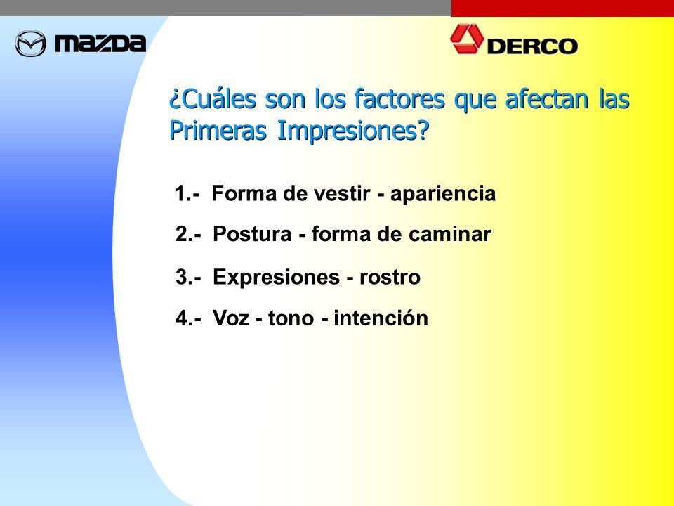 ¿Cuáles son los factores que afectan las Primeras Impresiones? ¿Cuáles son los factores que afectan las Primeras Impresiones? 1.- Forma de vestir - ap