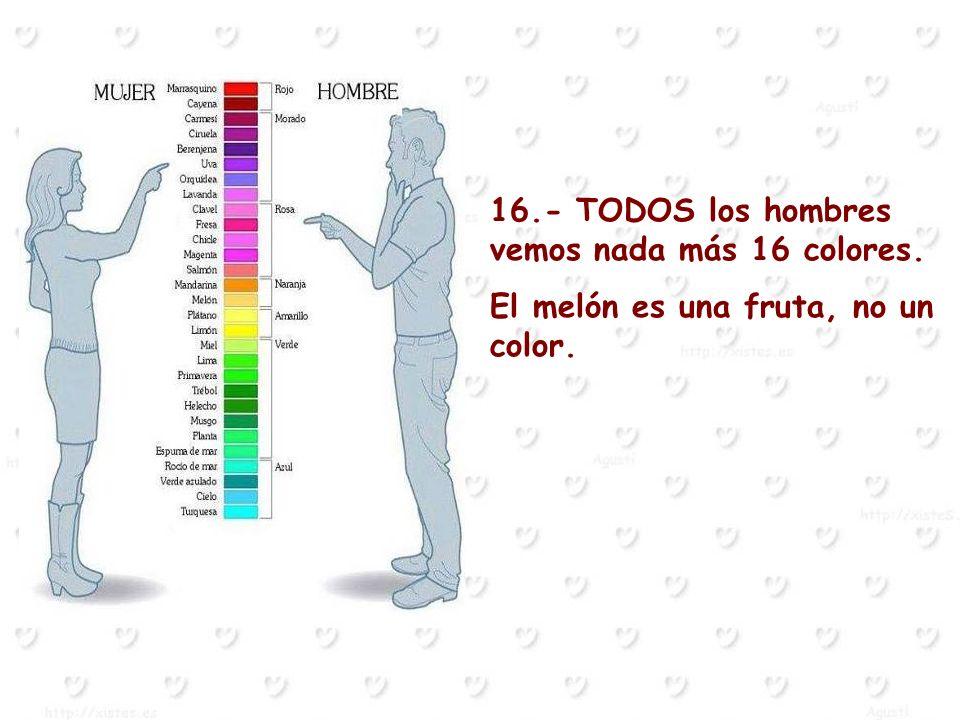 16.- TODOS los hombres vemos nada más 16 colores. El melón es una fruta, no un color.