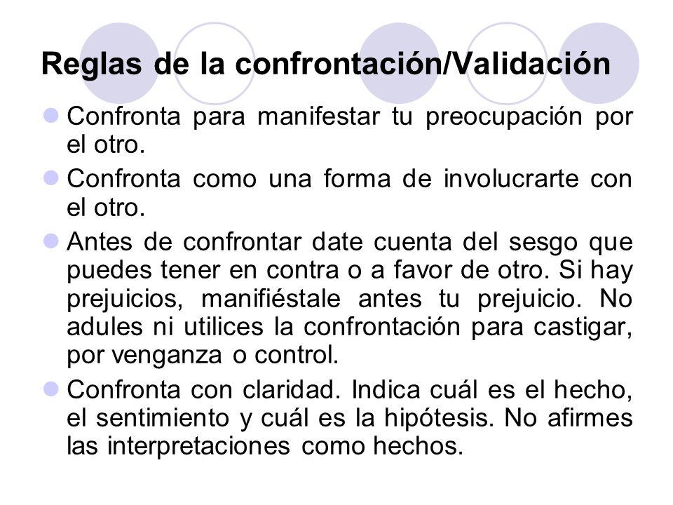 Reglas de la confrontación/Validación Confronta para manifestar tu preocupación por el otro. Confronta como una forma de involucrarte con el otro. Ant