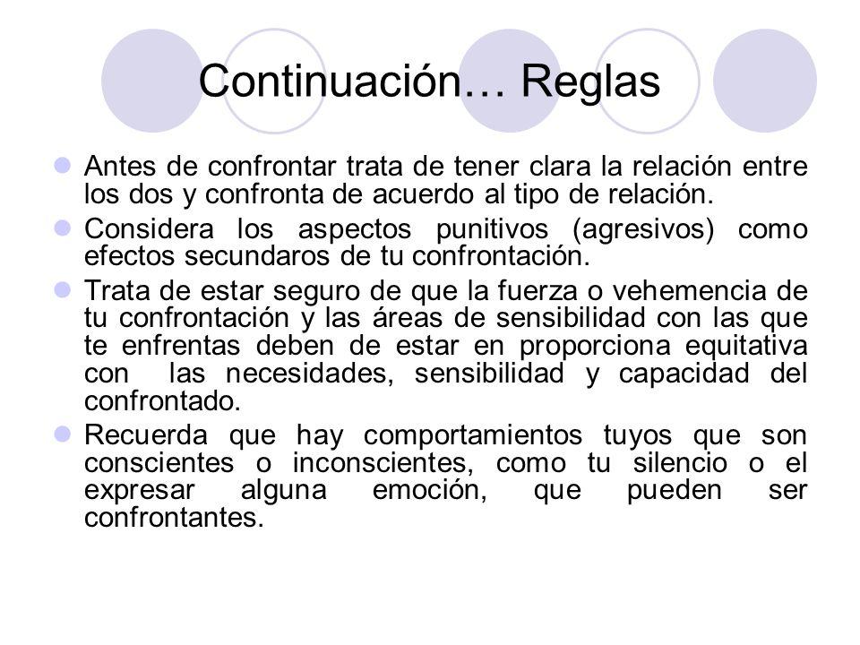 Continuación… Reglas Antes de confrontar trata de tener clara la relación entre los dos y confronta de acuerdo al tipo de relación. Considera los aspe