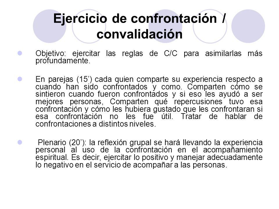 Ejercicio de confrontación / convalidación Objetivo: ejercitar las reglas de C/C para asimilarlas más profundamente. En parejas (15) cada quien compar