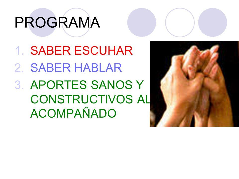 PROGRAMA 1.SABER ESCUHAR 2.SABER HABLAR 3.APORTES SANOS Y CONSTRUCTIVOS AL ACOMPAÑADO