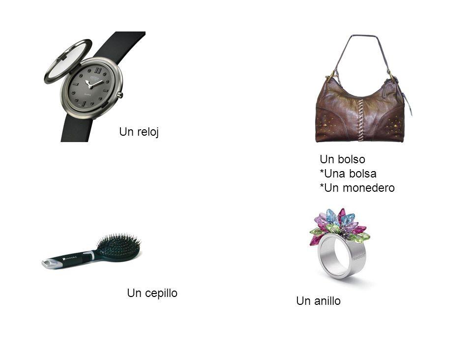 Un reloj Un bolso *Una bolsa *Un monedero Un cepillo Un anillo