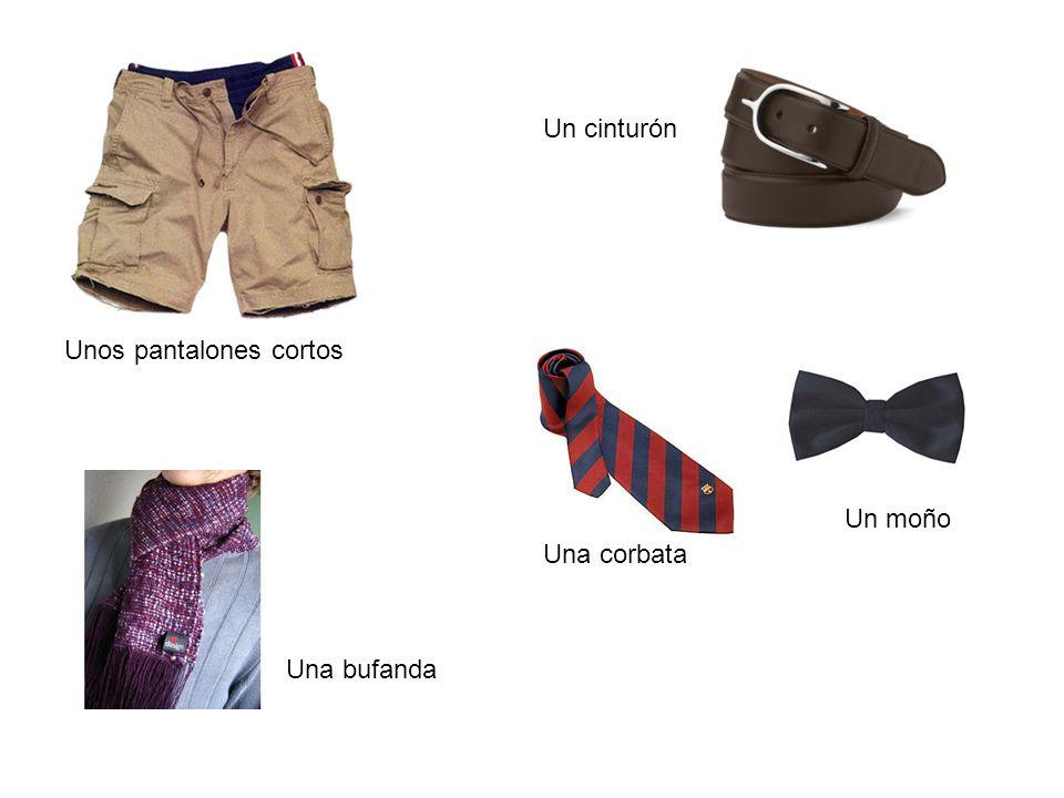 Unos pantalones cortos Una bufanda Un cinturón Una corbata Un moño