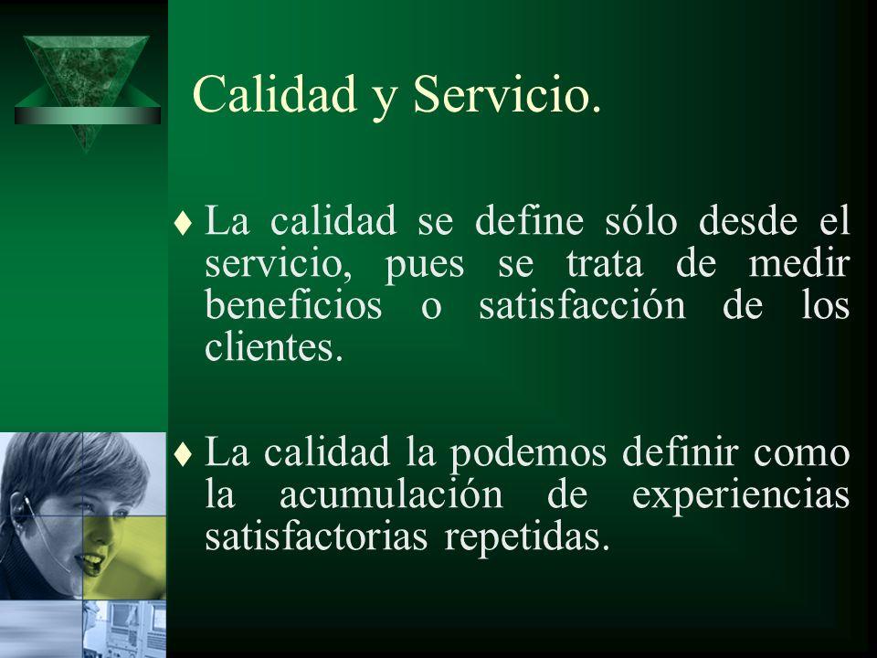 Calidad y Servicio. tLtLa calidad se define sólo desde el servicio, pues se trata de medir beneficios o satisfacción de los clientes. tLtLa calidad la