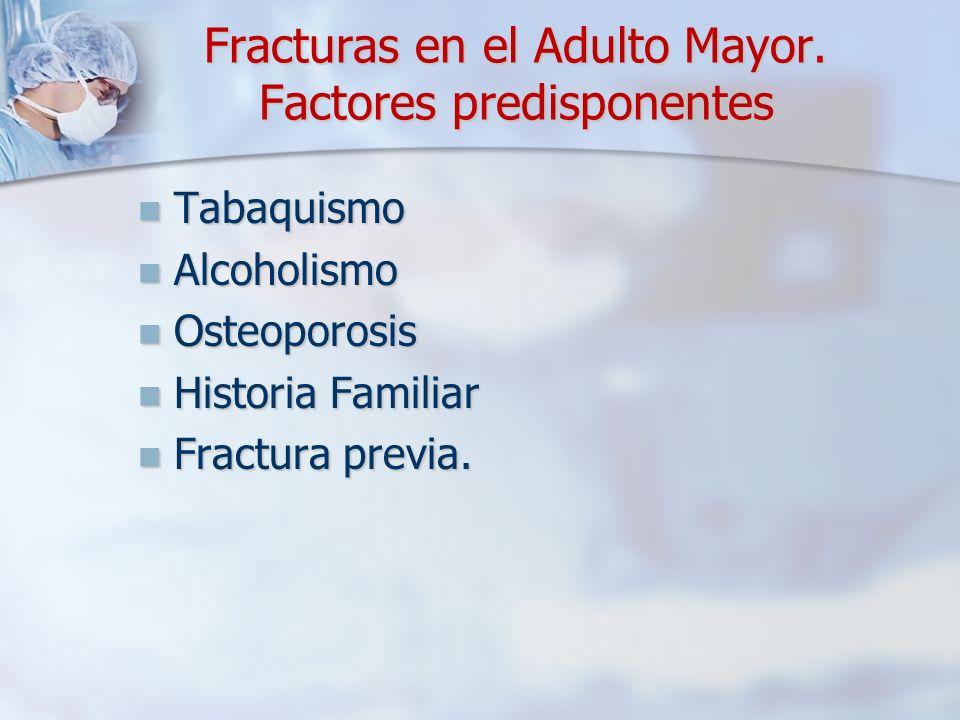 Fracturas en el Adulto Mayor. Factores predisponentes Tabaquismo Tabaquismo Alcoholismo Alcoholismo Osteoporosis Osteoporosis Historia Familiar Histor