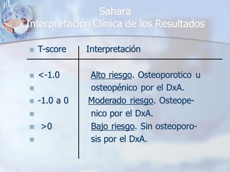 Sahara Interpretación Clínica de los Resultados Sahara Interpretación Clínica de los Resultados T-score Interpretación T-score Interpretación <-1.0 Alto riesgo.