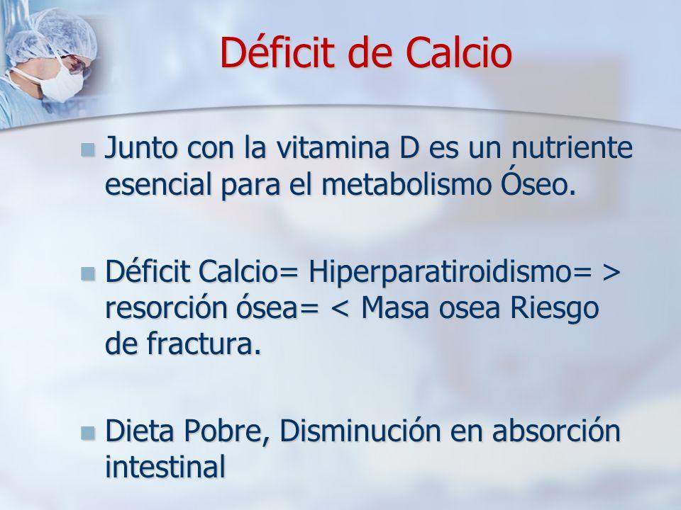 Déficit de Calcio Junto con la vitamina D es un nutriente esencial para el metabolismo Óseo. Junto con la vitamina D es un nutriente esencial para el
