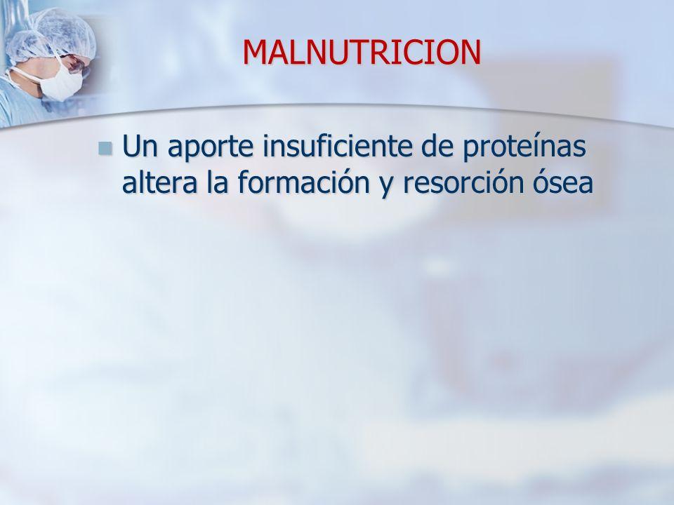 MALNUTRICION Un aporte insuficiente de proteínas altera la formación y resorción ósea Un aporte insuficiente de proteínas altera la formación y resorc