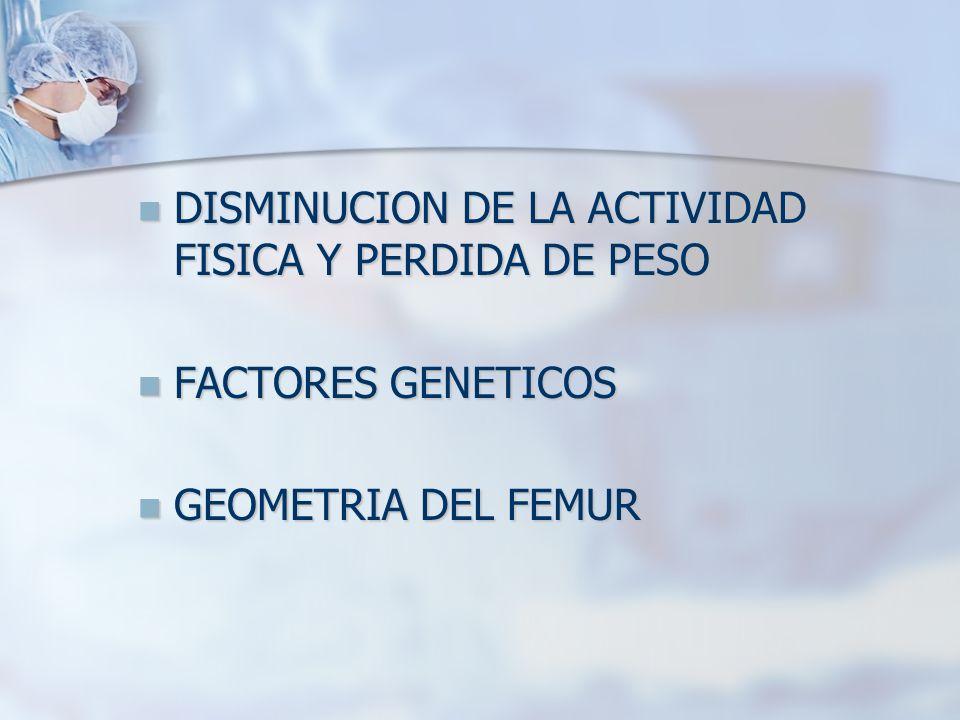DISMINUCION DE LA ACTIVIDAD FISICA Y PERDIDA DE PESO DISMINUCION DE LA ACTIVIDAD FISICA Y PERDIDA DE PESO FACTORES GENETICOS FACTORES GENETICOS GEOMETRIA DEL FEMUR GEOMETRIA DEL FEMUR