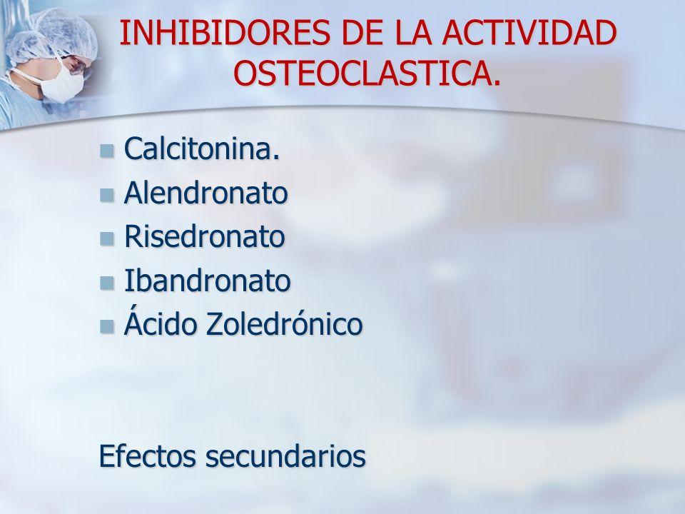 INHIBIDORES DE LA ACTIVIDAD OSTEOCLASTICA. Calcitonina. Calcitonina. Alendronato Alendronato Risedronato Risedronato Ibandronato Ibandronato Ácido Zol