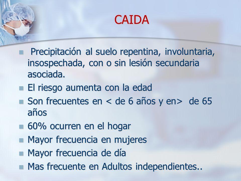 CAIDA CAIDA Precipitación al suelo repentina, involuntaria, insospechada, con o sin lesión secundaria asociada.