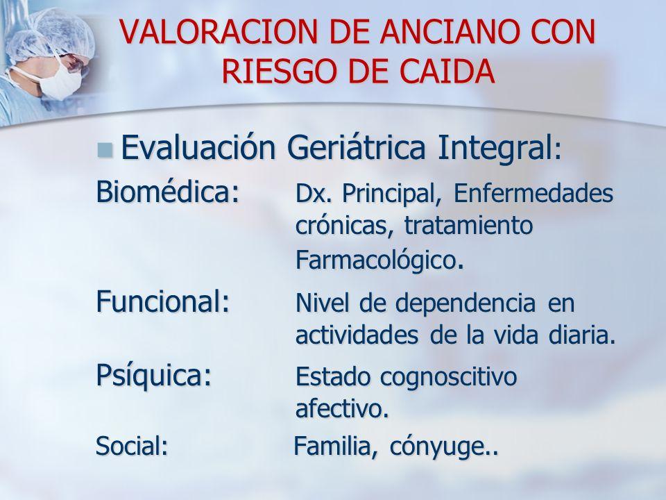 VALORACION DE ANCIANO CON RIESGO DE CAIDA Evaluación Geriátrica Integral : Evaluación Geriátrica Integral : Biomédica: Dx. Principal, Enfermedades cró