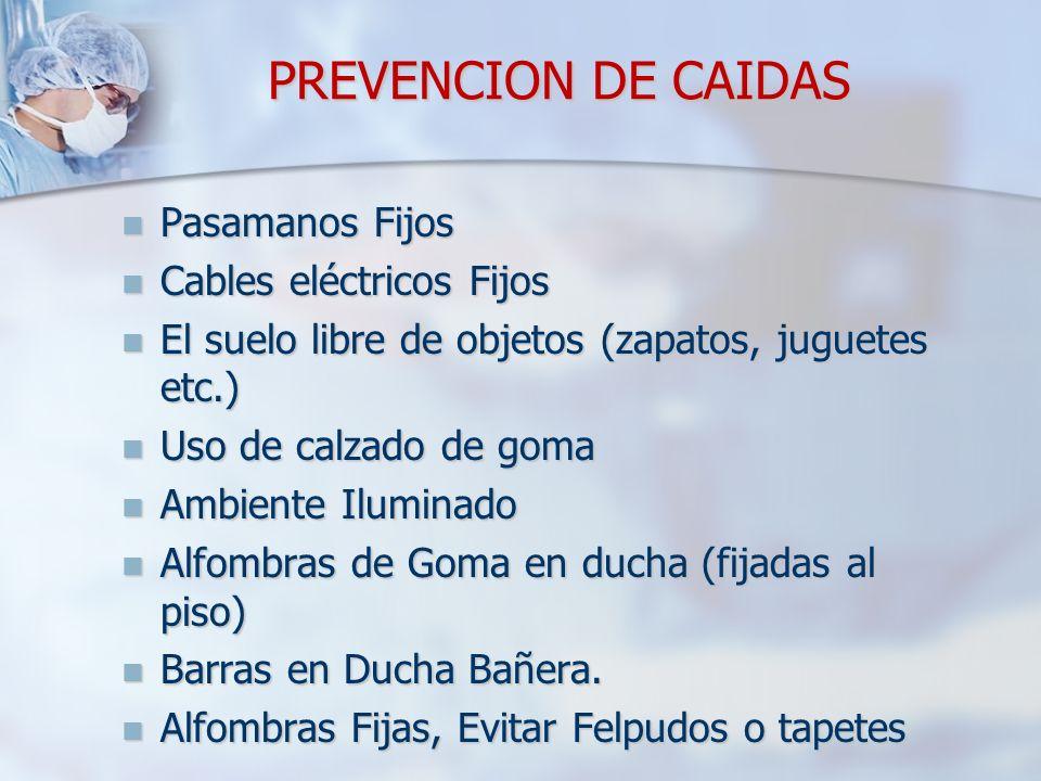 PREVENCION DE CAIDAS Pasamanos Fijos Pasamanos Fijos Cables eléctricos Fijos Cables eléctricos Fijos El suelo libre de objetos (zapatos, juguetes etc.
