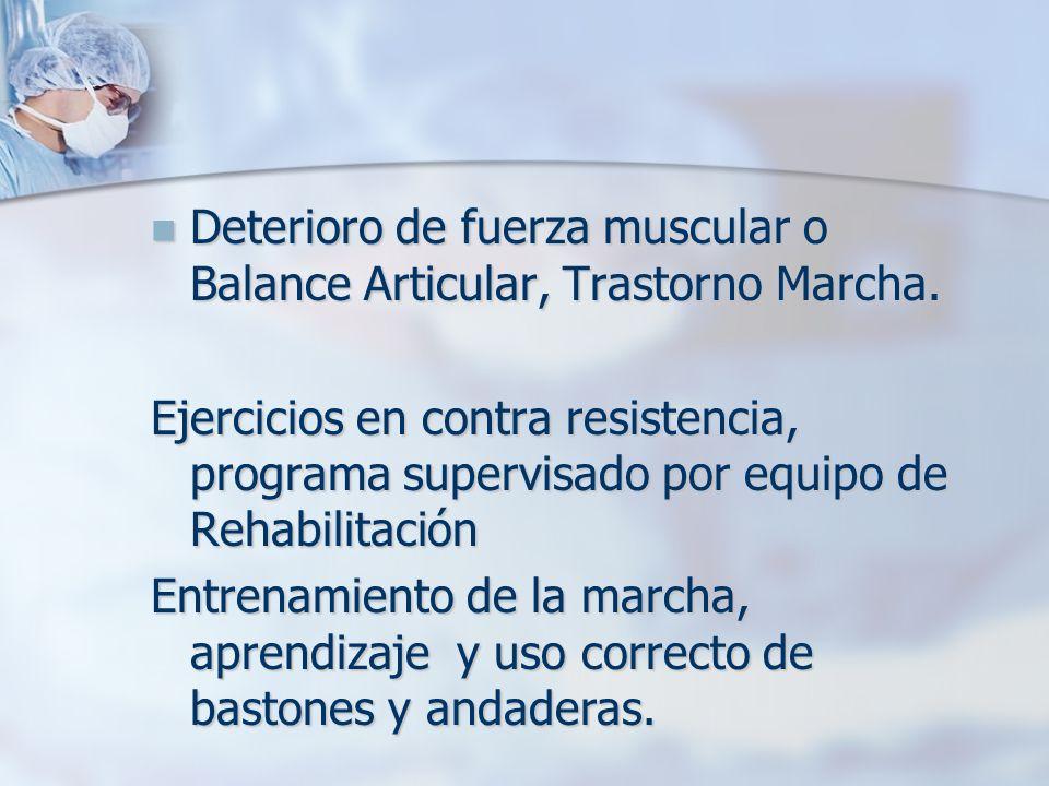 Deterioro de fuerza muscular o Balance Articular, Trastorno Marcha. Deterioro de fuerza muscular o Balance Articular, Trastorno Marcha. Ejercicios en