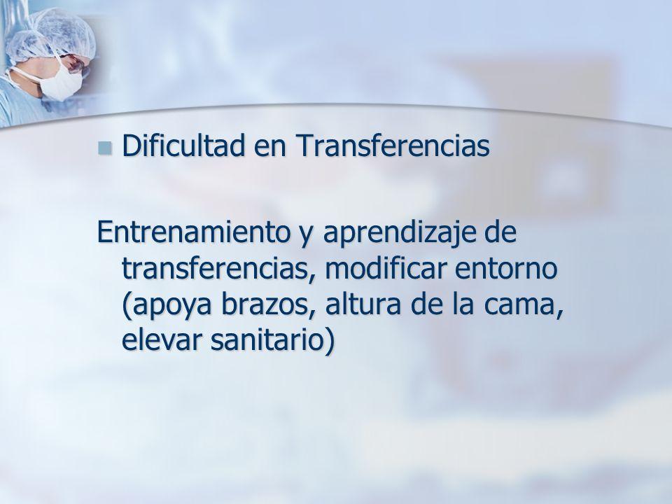 Dificultad en Transferencias Dificultad en Transferencias Entrenamiento y aprendizaje de transferencias, modificar entorno (apoya brazos, altura de la cama, elevar sanitario)