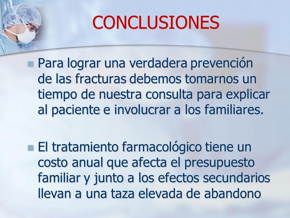 CONCLUSIONES Para lograr una verdadera prevención de las fracturas debemos tomarnos un tiempo de nuestra consulta para explicar al paciente e involucrar a los familiares.